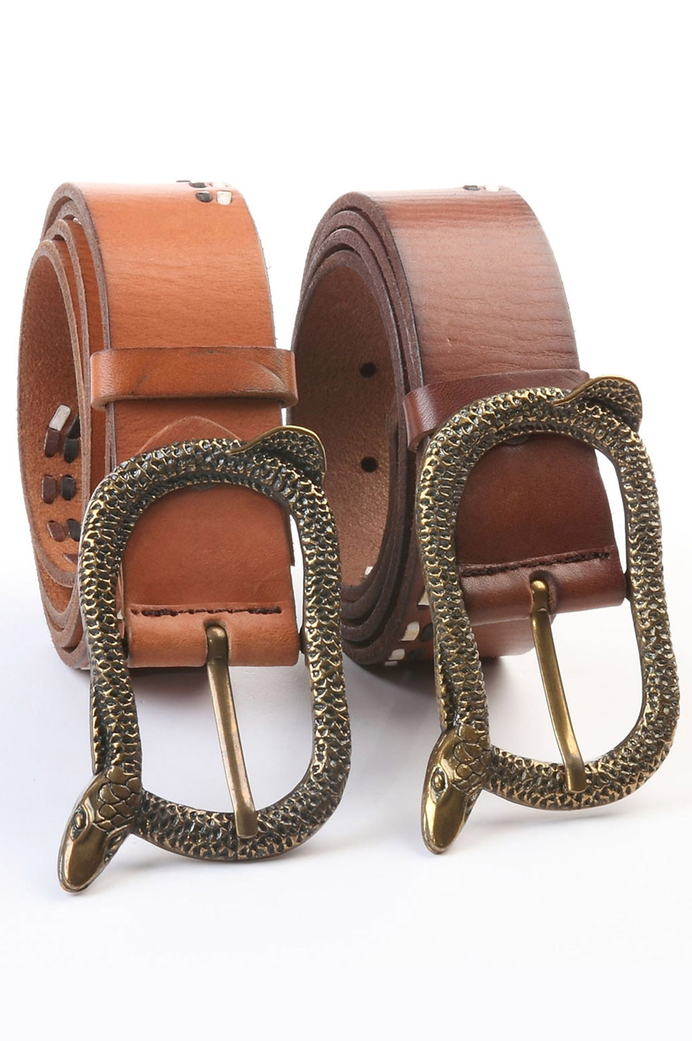 Art Sports Belt from natural brown skin | Black and white wavy decorative stitching and a snake buckle - 518223